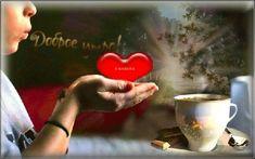 Анимация Девочка с сердечком в руках на фоне чашечки с чаем / Доброе утро/
