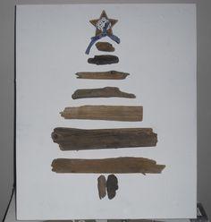 Kerstboom van drijfhout op canvas doek