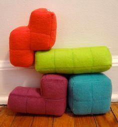 Tetris: Coussins de toutes les couleurs pour salon Geek