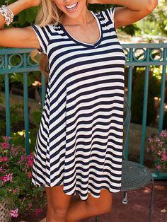Shop Black White Short Sleeve Striped Loose Dress online. SheIn offers Black White Short Sleeve Striped Loose Dress & more to fit your fashionable needs.