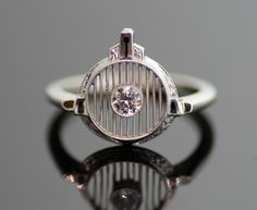 Antique Art Deco Filigree Ring - 14K White Gold and European Cut Diamond
