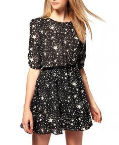 Wavy Peplum Stars Printing Chiffon Dress