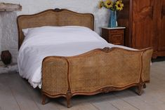 French corbeille  cane king size bed Bedding Master Bedroom, Master Bedroom Makeover, Home Bedroom, Bedroom Furniture, Bedroom Decor, Bedroom Loft, Bedroom Ideas, Bedrooms, Wooden King Size Bed