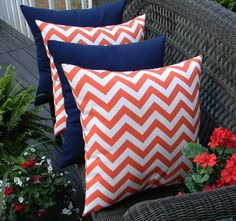 """Set of 4 - 20"""" x 20"""" Indoor / Outdoor Orange and White Chevron & Solid Navy Blue Decorative Throw Pillows"""