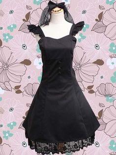 Belle robe noire coton Lolita Gothique