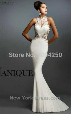 c49a2ab6d Rr006 blanco   negro   rojo largo sirena vestidos de noche Sexy cuello alto  sin respaldo apliques Formal elegante vestido de fiesta