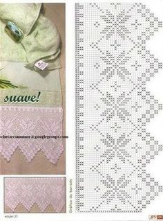 The edging in the photo says it is from a pattern found in Crochet Lace Edging, Crochet Borders, Crochet Trim, Crochet Doilies, Easy Crochet, Knit Crochet, Filet Crochet Charts, Crochet Stitches, Embroidery Patterns
