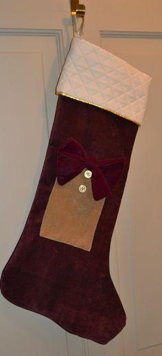 Woof n Poof Christmas Chenille Pocket Stocking - Burg/3 Buttons. Visit Joangoehler.com