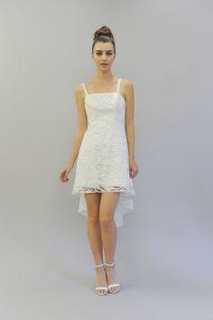 """Juliette"" Lace Minidress with Thin Straps | Photo: Maria Valentino. View More: http://www.insideweddings.com/news/fashion/flirtatious-playful-looks-from-austin-scarlett-fall-2017/3309/"