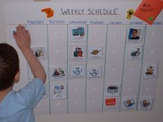 Weekly Schedule using laminated PECS pics (you can find many free online! Visual Schedule Preschool, Visual Schedule Autism, Daily Schedule Kids, Schedule Board, Week Schedule, Preschool Special Education, Toddler Schedule, Visual Schedules, Visual Timetable