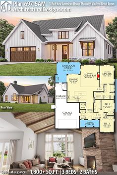 Plan New American House Plan with Vaulted Great Room 2019 Entry into Bedroom over with door th other side? The post Plan New American House Plan with Vaulted Great Room 2019 appeared first on House ideas. New House Plans, Dream House Plans, Small House Plans, Small Farmhouse Plans, Dream Houses, Cottage House Plans, Farmhouse Design, House Plans With Garage, Country Home Plans