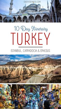 10 Day Turkey Itinerary. Visit Istanbul, the Hagia Sophia, Blue Mosque, Bosphorus River, Grand Bazaar, Topkapi Palace, Cappadocia, Ortihisar, Urgup, Ephesus, and Sirince. #turkey #istanbul #cappadocia #ephesus