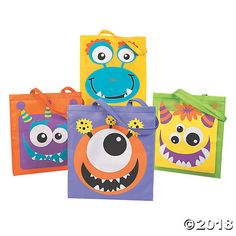 Of course monster faces make great Halloween trick-or-treat bags! These assorted tote bags feature cute and colorful monster faces and are large and durable ...