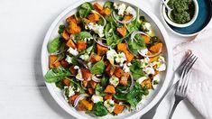Roasted pumpkin and fetta salad recipe Summer Salad Recipes, Summer Salads, Baby Spinach Salads, Potato Patties, Christmas Lunch, Christmas Recipes, Roast Pumpkin, Best Side Dishes, Food Hacks