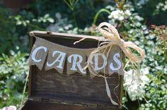 Cards burlap banner  rustic wedding cards sign by KohnenKorner, $18.00