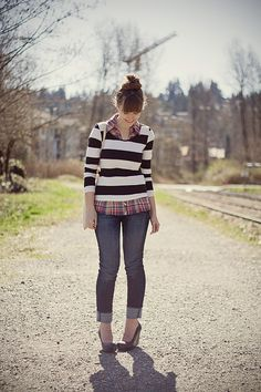 So many things I love at once - stripes, plaid, cuffed jeans, wedges.