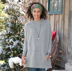 """NEW FALLEN SNOW CASHMERE PULLOVER--It's love at first touch of our lofty, dreamy 4-ply cashmere tunic. Knit in shaker stitch with ribbed sleeves and neck, and a cozy kangaroo pocket. Slouchy, oversized fit. Hand wash. Imported. Exclusive. Sizes XS/S (2 to 6), M/L (8 to 12), XL (14 to 16). Approx. 30-1/2""""L.Please note: this has a slouchy, oversized fit, if a slimmer fit is desired please order down one size."""
