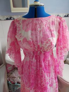 Vintage Boho 1970s Pinks Floral Butterfly Maxi by TheAtticofKitsch