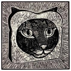 Cat Breading Linocut Print by WoodcutEmporium on Etsy