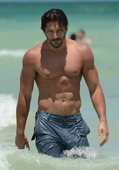 June 17, 2012: Joe Manganiello shows off his toned body while out for a swim in Miami Beachs South Beach.
