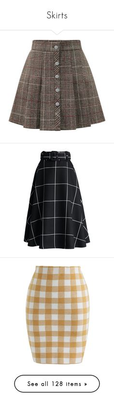 """Skirts"" by captainvampsy ❤ liked on Polyvore featuring skirts, mini skirts, bottoms, mini skirt, plaid miniskirts, button front skirt, short plaid skirt, brown skirt, patterned skirts and midi skirt"
