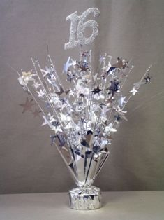 Cheap Sweet 16 Centerpieces | Silver Sweet 16 Centerpieces, Sale on Inexpensive Ready Made 16th ...