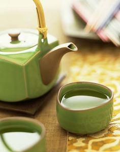 Green tea, green teapot