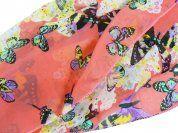 Pink Butterfly Chiffon Scarf