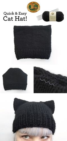 Hey cat lovers! Cat-ify your winter look with this quick and easy cat hat! I made mine with one skein of Lion Brand Alpine Wool in Black Pepper. Start with Lion Brand's Camelot Hat and make t…