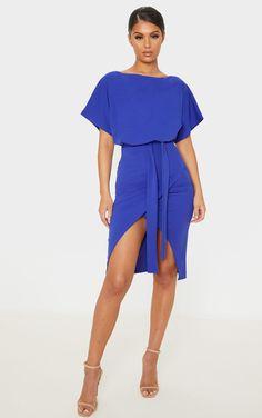 Marks /& Spencer Chambray Denim Drawstring Midi Dress Summer Bardot dress 8-16