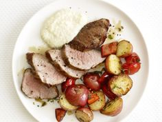 Roasted Pork and Potatoes With Creamy Applesauce #myplate #protein #veggies