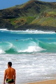 Surf at Sandy Beach, Oahu...where the waves appear to be in June.
