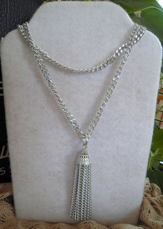Vintage Sarah Coventry Silver Tassel Chain Necklace by MDHcrafts