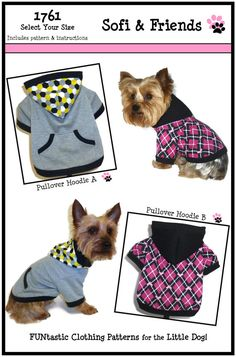 Dog Clothes Sewing Pattern 1761 Pullover Hoodie Dog Sweatshirt for the Little Dog in Two Styles $8.25