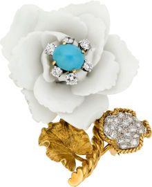 Turquoise, Porcelain, Diamond, Platinum, Gold Brooch, David Webb