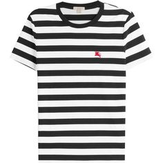 Burberry Brit Cotton Striped T-Shirt ($145) found on Polyvore featuring men's fashion, men's clothing, men's shirts, men's t-shirts, black, mens striped shirt, mens cotton shirts, mens short sleeve t shirts, mens striped t shirt and mens short sleeve shirts