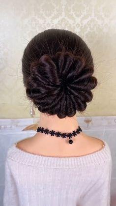 Hairdo For Long Hair, Bun Hairstyles For Long Hair, Long Hair Video, Hair Updo, Front Hair Styles, Medium Hair Styles, Natural Hair Styles, Bridal Hair Buns, Creative Hairstyles