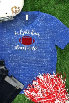 "If you love tailgating, then you'll love this fun ""Tailgate hair don't care"" tee!"