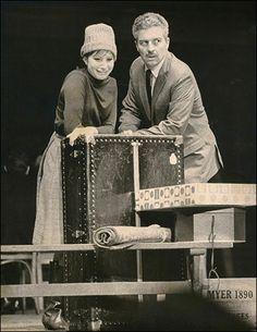 Barbra Streisand and Sydney Chaplin in rehearsal for Funny Girl: Broadway, 1964