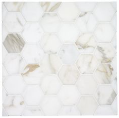classic hex marble tile in calcutta gold for a warmer look, use at shower floor Hex Tile, Bath Tiles, Hexagon Tiles, Bathroom Floor Tiles, Marble Mosaic, Shower Floor, Tile Floor, Bathroom Marble, Tile Grout