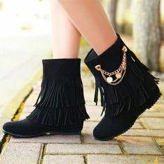 USD17.49Spring Autumn Round Toe Tassels Embellished Wedge Mid Heel Black Slip On Leather Short Riding Boots