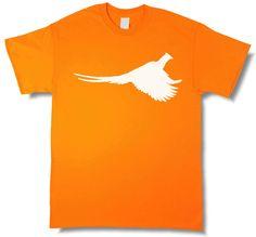 Rooster Pheasant Profile Upland Hunting Blaze Orange Short Sleeve T-shirt