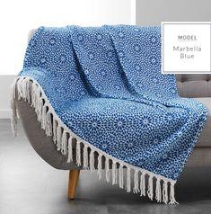 Plaid a franges indigo , 125 x 150 cm - polyester TATI. Voile Panels, Voile Curtains, Panel Curtains, Indigo, Modern Colors, Cushion Covers, Home Accessories, Cushions, Blanket