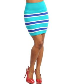 EMERALD ROYAL CONTRAST COLOR STRIPES, BANDED WAIST, PULL ON FITTED PENCIL SKIRT