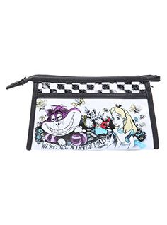 Loungefly Disney Alice In Wonderland Were All Mad Cosmetic Bag * Click image to review more details.