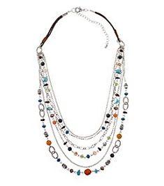 Ruff Hewn Silvertone Six Row Beaded Necklace