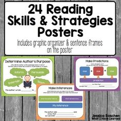 These are reading comprehension posters for both reading skills and reading strategies. These reading comprehension posters will help your students remember all the good strategies and skills they've learned all year long. Use these reading comprehension posters as references during read alouds or