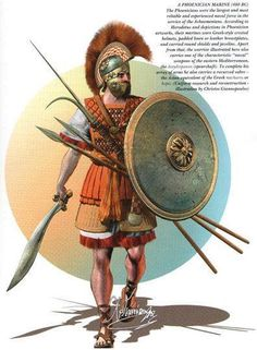 A phoenician marine, 480 BC (mn: Do NOT want to ask what kind of rats these marines ate. Greek History, Ancient History, Military Art, Military History, Ancient Armor, Punic Wars, Greek Warrior, Armadura Medieval, Ancient Civilizations