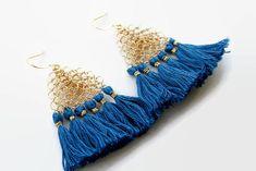Tassel Triangle Boho Silver Gold Blue Dangle Chandelier Earrings Fringe, Wire Crochet Wo.. https://seethis.co/m2MrP #jewelryonetsy #shopsmall