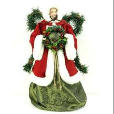 "Season's Designs 16"" Angel Tree Topper With Red Coat And White Fur Trim"